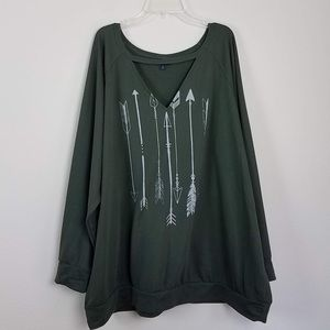 Torrid olive green arrow keyhole neck sweatshirt